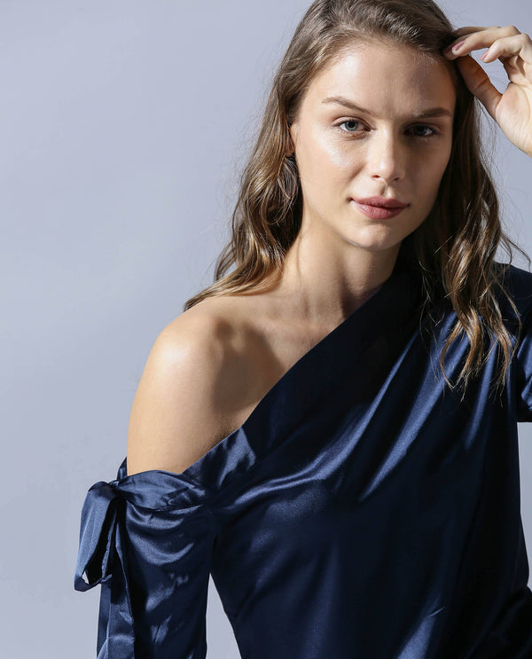 RHAPSODY-OFF SHOULDER TOP-NAVY TOP RAREISM