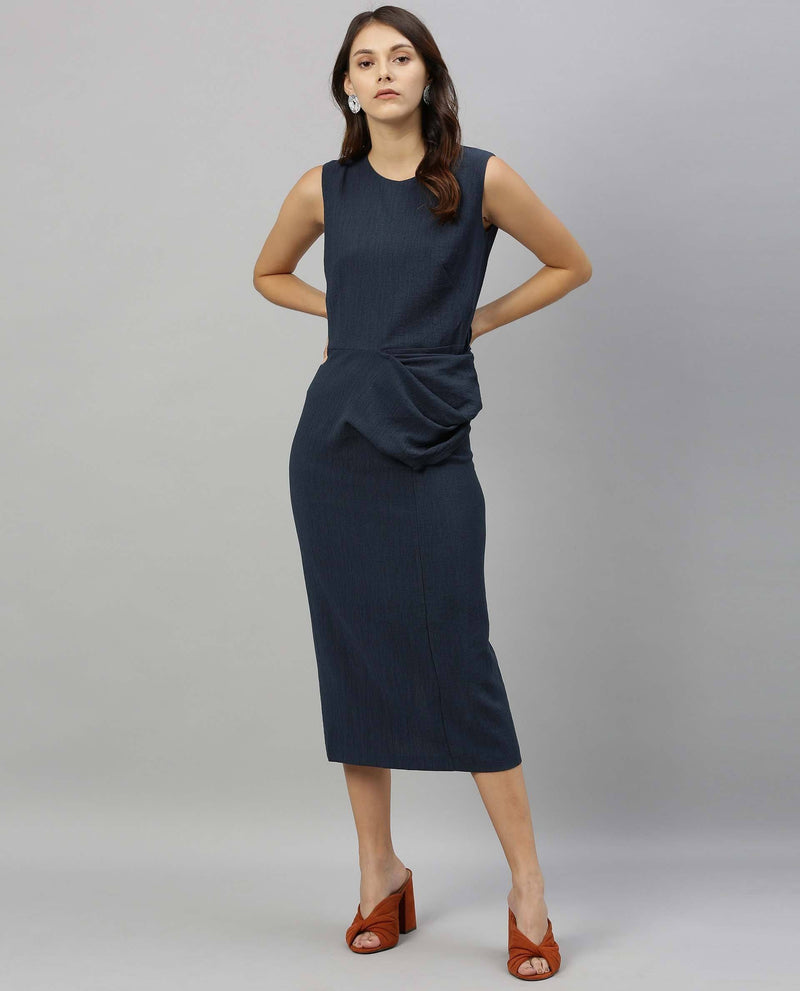JENNER-SLEEVELESS MIDI DRESS-BLUE