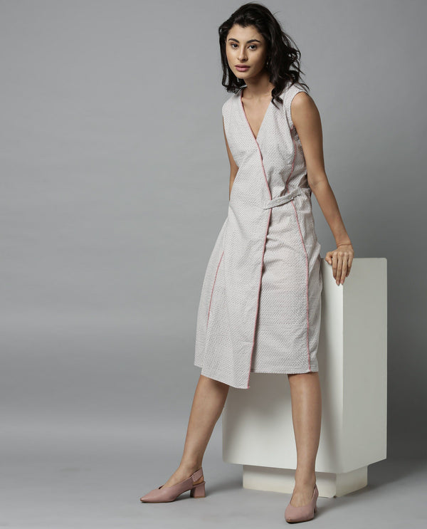 CODE-SLEEVELESS SCHIFFLI FORMAL DRESS-GREY DRESS RAREISM