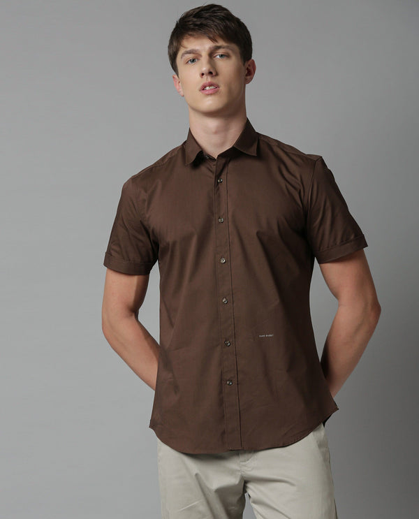 TULLE-SOLID STRETCH SHIRT-BROWN SHIRT RARE RABBIT
