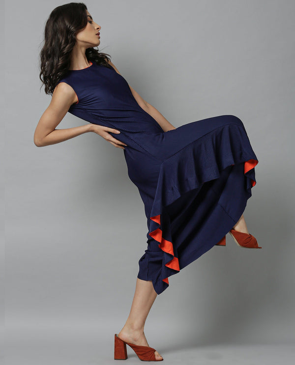 OKA-SLEEVELESS LONG KNIT DRESS-NAVY DRESS RAREISM