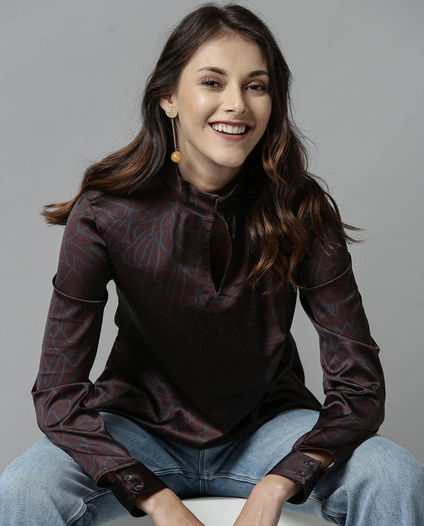 FLOAT-SATIN PRINTED TOP-BROWN TOP RAREISM