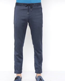Silk-Drawstring Trouser-Navy Blue