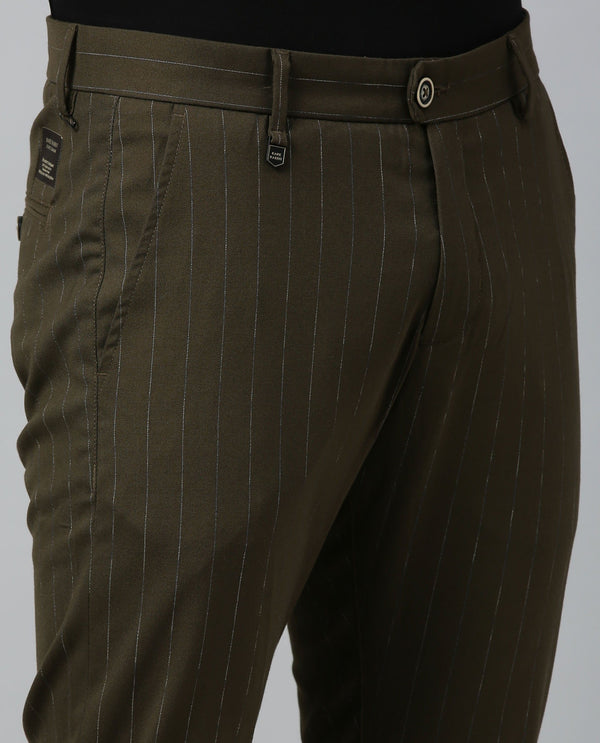 GRADE-STRIPED TROUSER-OLIVE TROUSERS RARE RABBIT