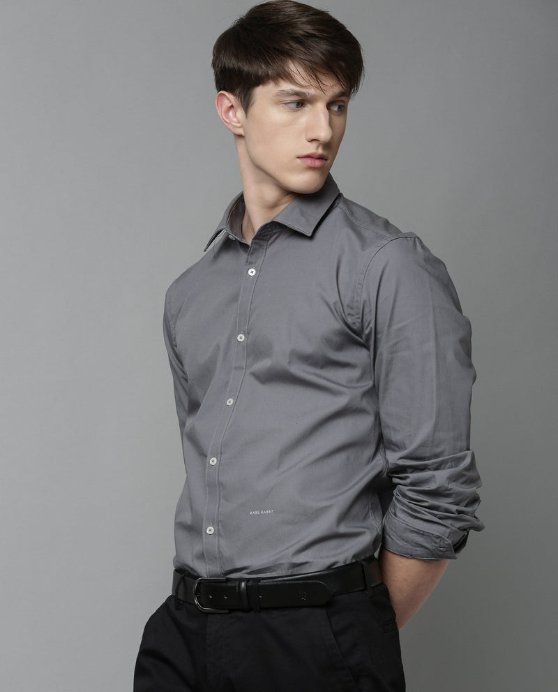 CORP-ZANDER- FORMAL SOLID SHIRT-GREY SHIRT RARE RABBIT