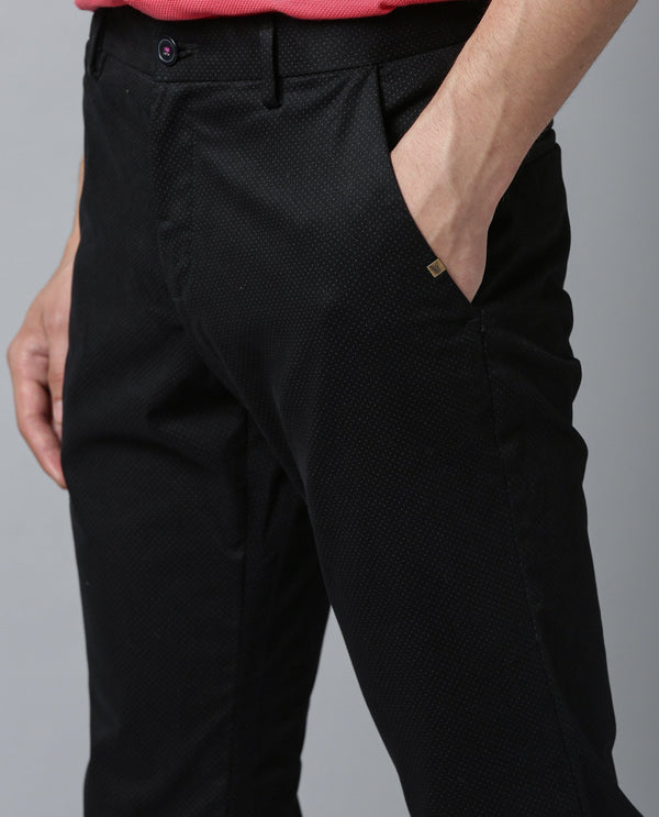 ALTERS-DOT PRINTED MEN'S TROUSER-BLACK TROUSERS RARE RABBIT