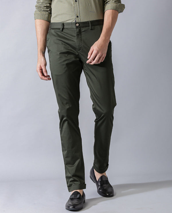 SHEEN - SATIN TROUSER - OLIVE TROUSERS RARE RABBIT