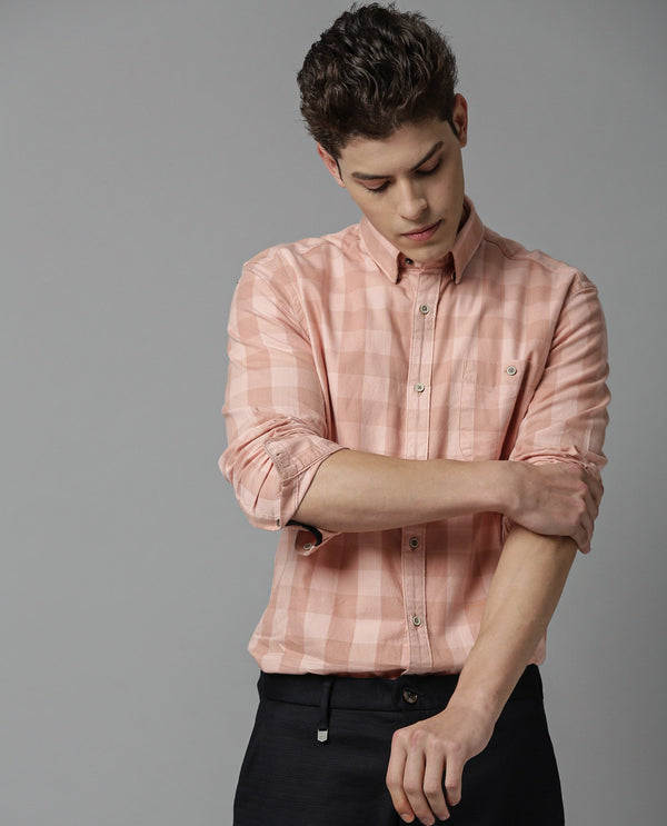 CONNECT-TEXTURED CHECK SHIRT-PINK SHIRT RARE RABBIT