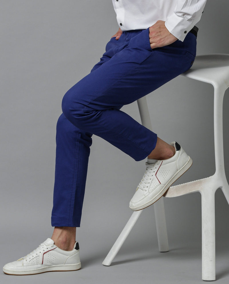 DARO-5 - SOLID TROUSER - BLUE TROUSERS RARE RABBIT