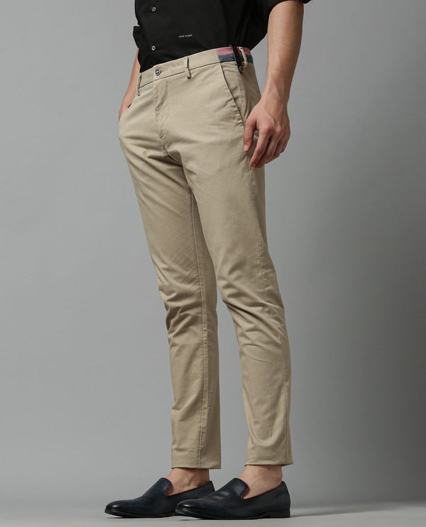 DARO-5- SOLIID TROUSER/CHINO - BEIGE TROUSERS RARE RABBIT