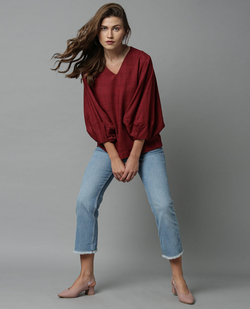 AMUSE-BALLOON SLEEVE TOP-MAROON TOP RAREISM