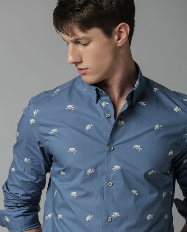 SUN-PRINTED SHIRT-BLUE SHIRT RARE RABBIT