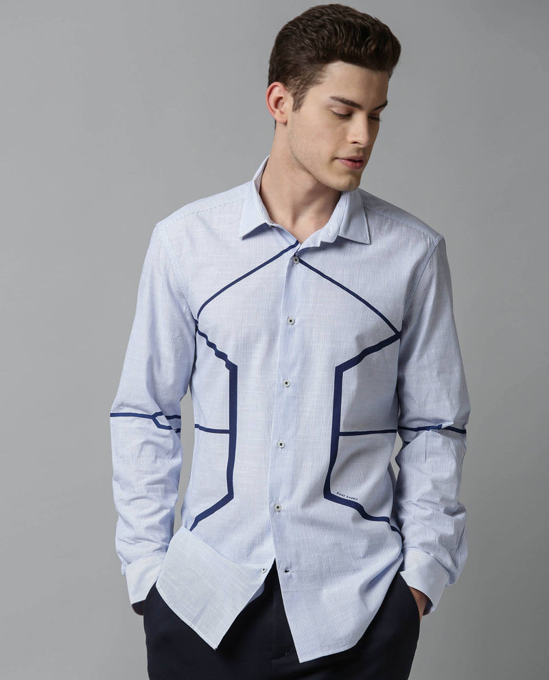 GEOMETRIC-PRINTED YARND DYED STRIPE SHIRT-BLUE SHIRT RARE RABBIT