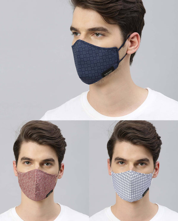 PROTECTIVE GEAR - PACK OF 3 PRINTED - NAVY WHITE PINK MASK THE HOUSE OF RARE