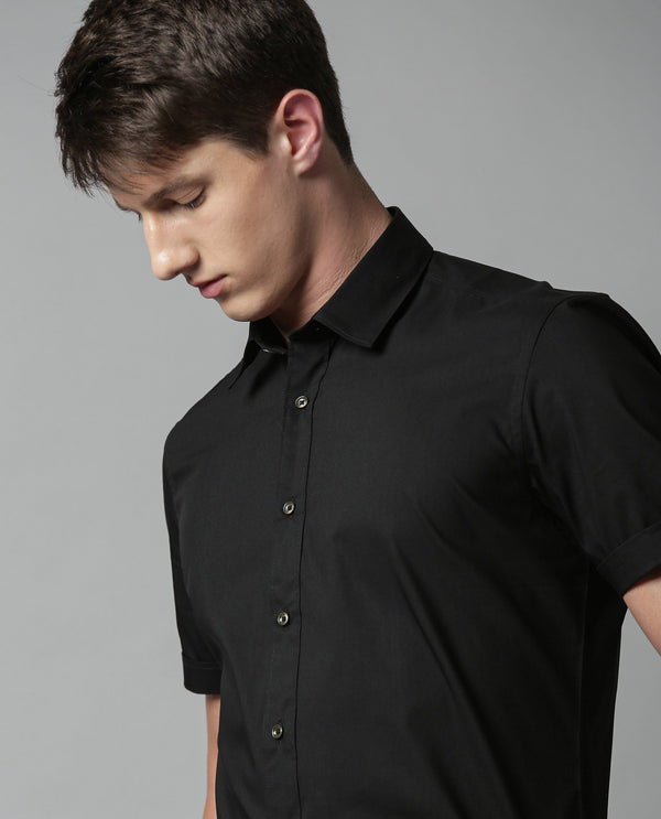 TULLE-SOLID STRETCH SHIRT-BLACK SHIRT RARE RABBIT