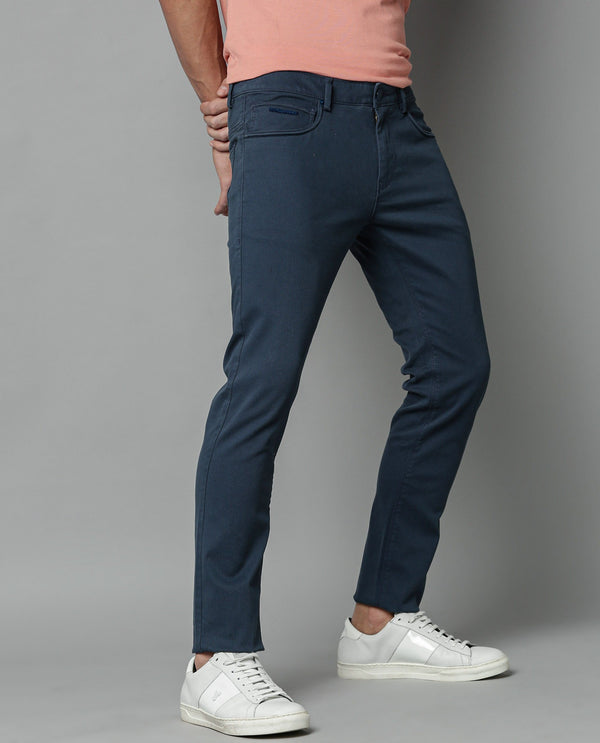 SPOCK-4-TEXTURED SOLID TROUSER-NAVY TROUSERS RARE RABBIT
