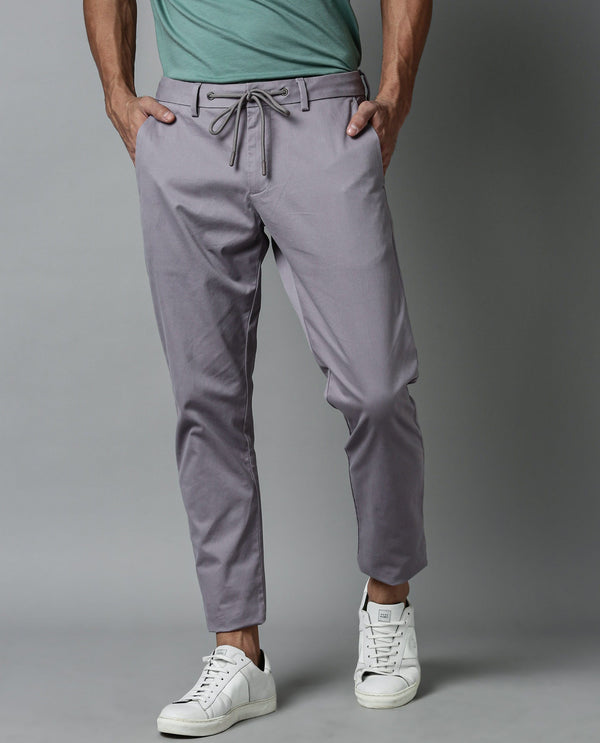 WATER-SOLID STRETCH DRAWSTRING TROUSER-PURPLE TROUSERS RARE RABBIT