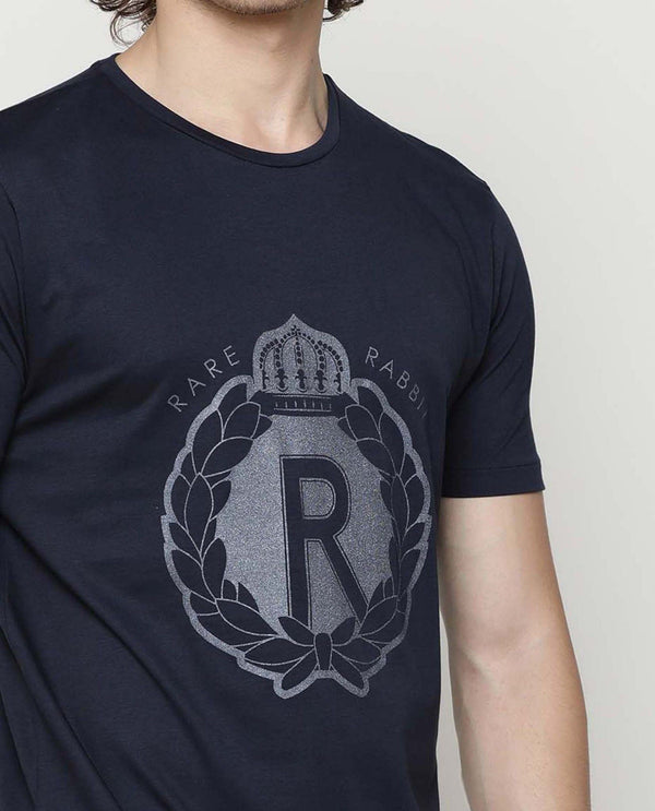 ROYAL-Graphic T-shirt-NAVY T-SHIRT RARE RABBIT