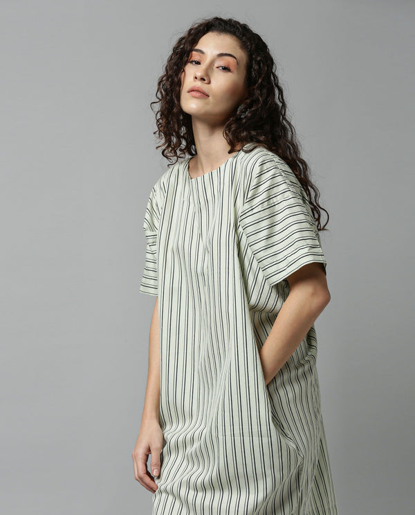 MANDARAIN- STRIPE BOXY DRESS - OFFWHITE DRESS RAREISM