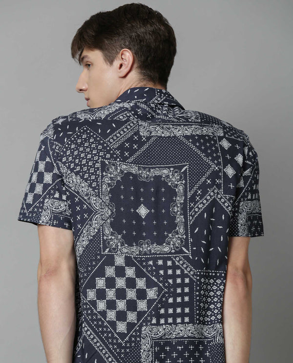 ROMAL-PRINTED SHIRT-NAVY SHIRT RARE RABBIT