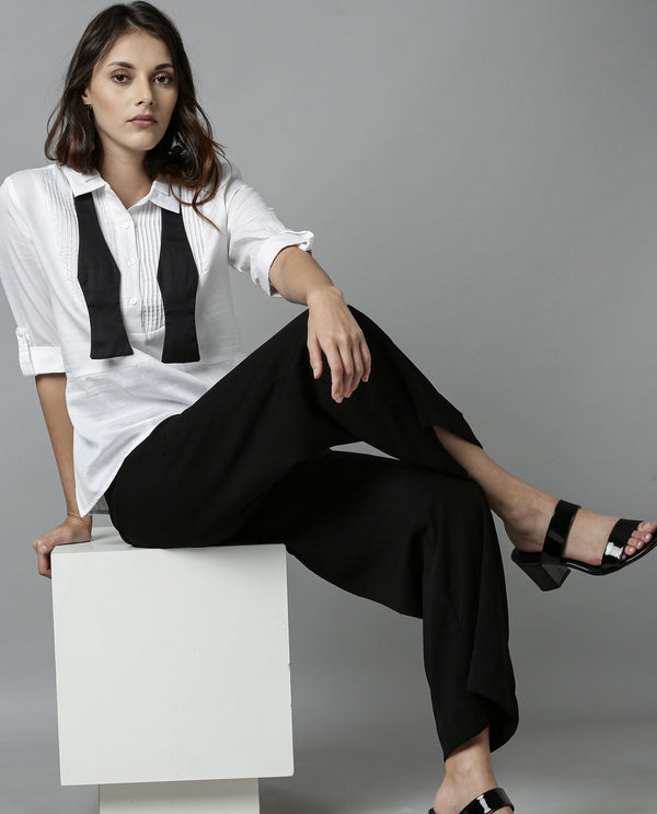 OSCAR-PIN TUCK SHIRT TOP-WHITE TOP RAREISM