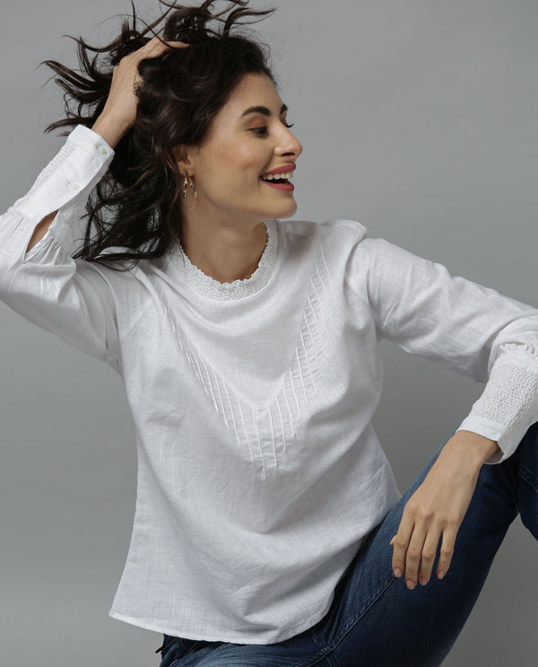DANDELION-FULL SLEEVE LINEN TOP-WHITE TOP RAREISM