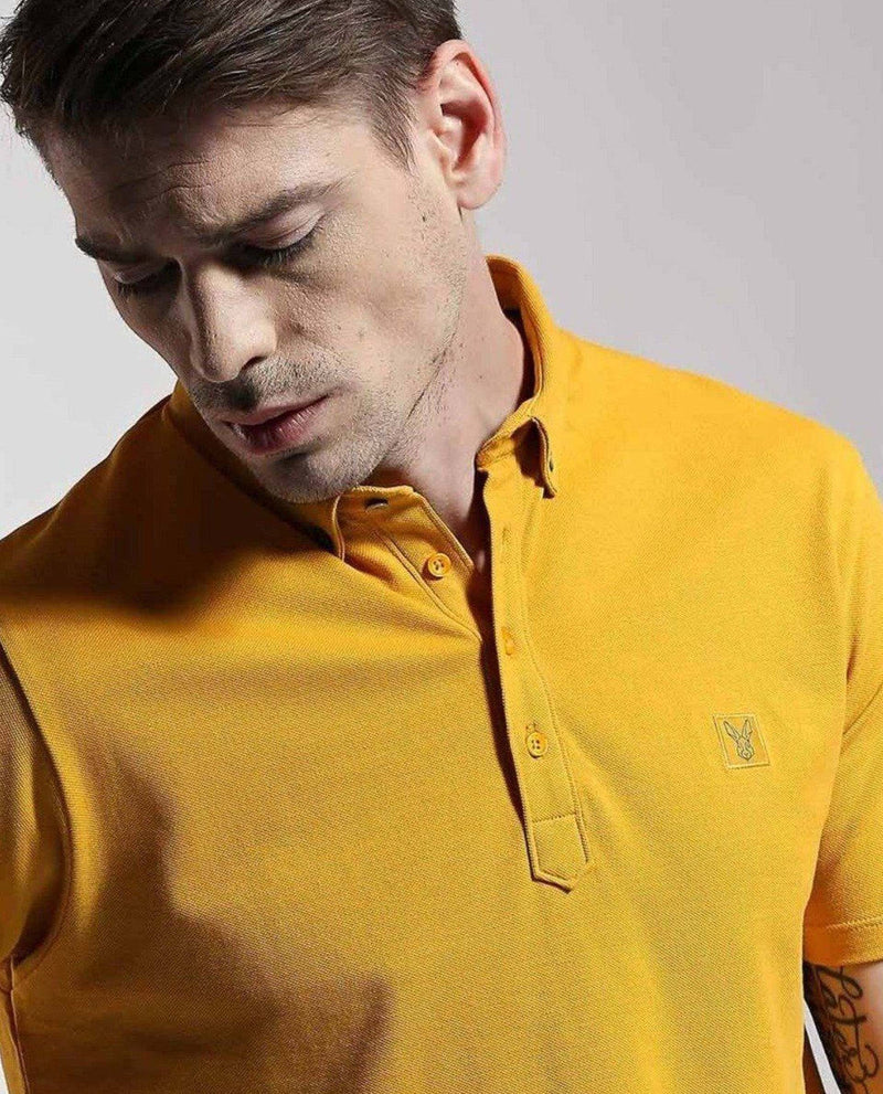 CASSINI-POLO PIMA T SHIRT- MUSTARD POLO RARE RABBIT