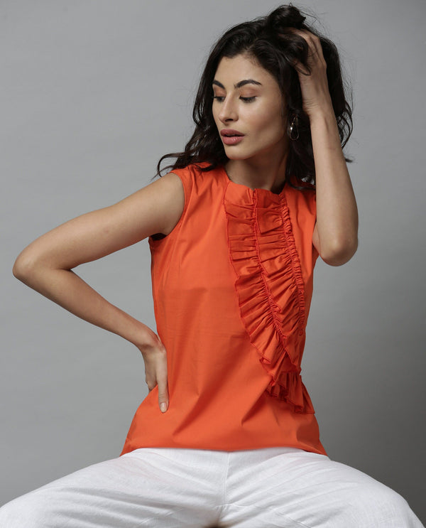 CARAMEL-RUFFLED SLEEVELESS TOP-ORANGE TOP RAREISM