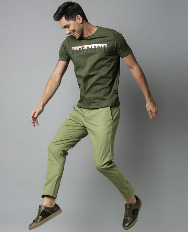WATER-SOLID STRETCH DRAWSTRING TROUSER-GREEN TROUSERS RARE RABBIT