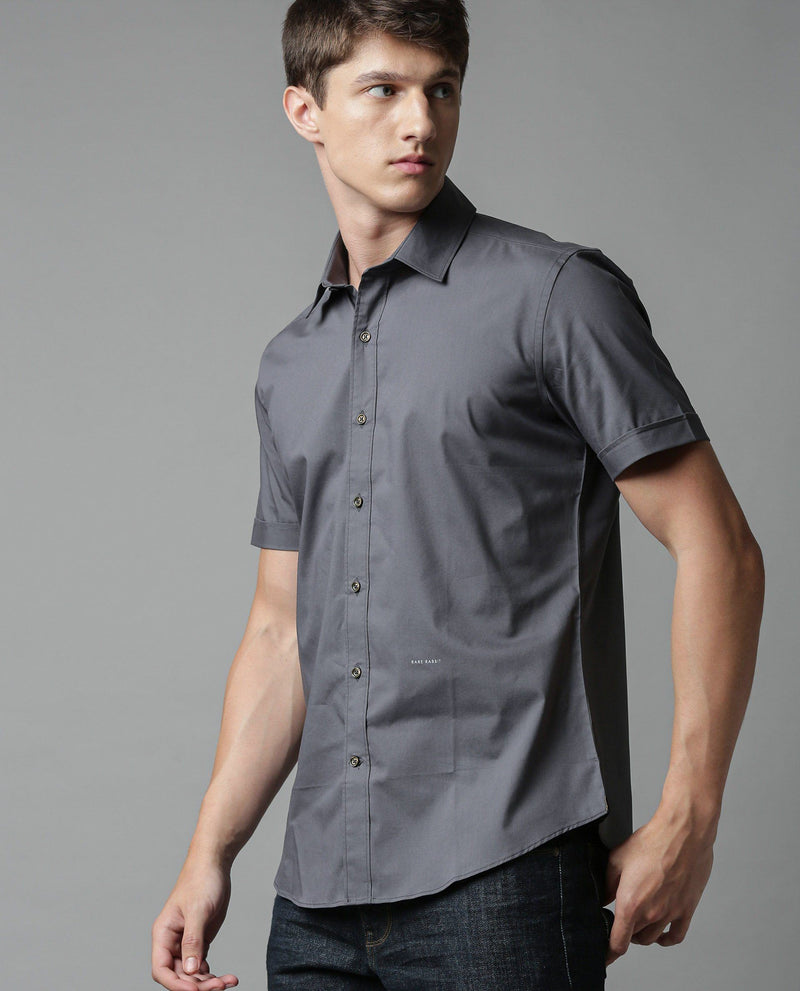 TULLE-SOLID STRETCH SHIRT-GREY SHIRT RARE RABBIT