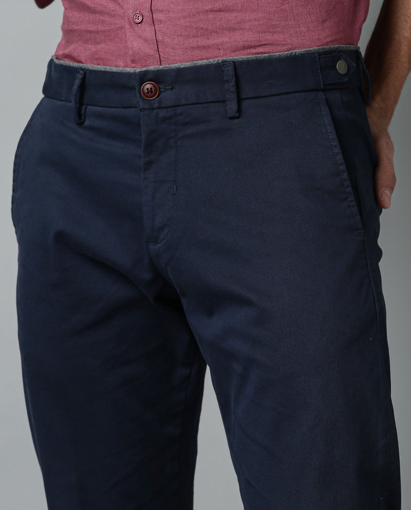 TREWS-SOLID STRETCH TROUSER-NAVY TROUSERS RARE RABBIT