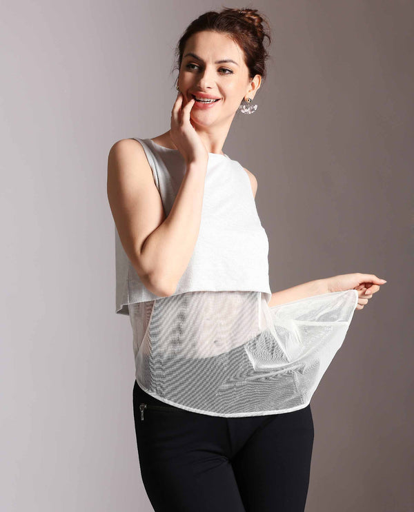ORION-SLEEVELESS SHEER TOP-WHITE TOP RAREISM