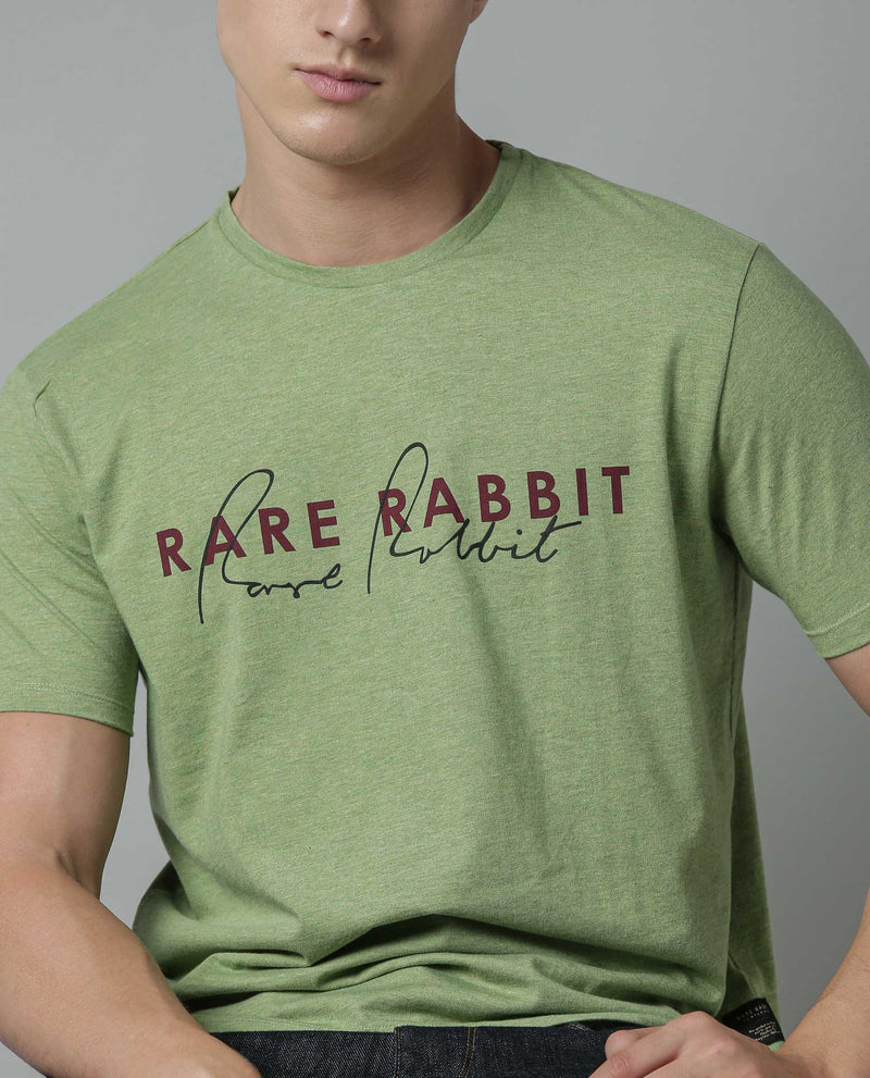 SIGNATURE-PIMA COTTON T-SHIRT-GREEN T-SHIRT RARE RABBIT