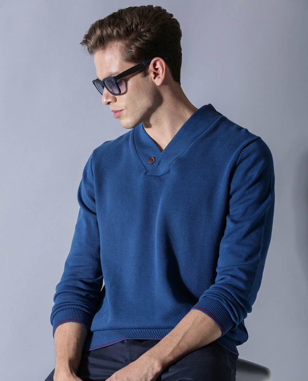 BREEZE-V-NECK SWEATER-BLUE SWEATER RARE RABBIT