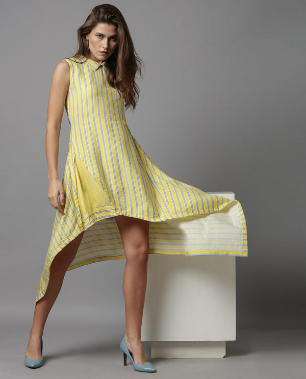 PAGE-SLEEVELESS HI LOW DRESS-YELLOW DRESS RAREISM