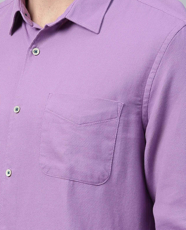 BIRDS EYE-MEN'S COTTON DOBBY SHIRT-LILAC SHIRT RARE RABBIT
