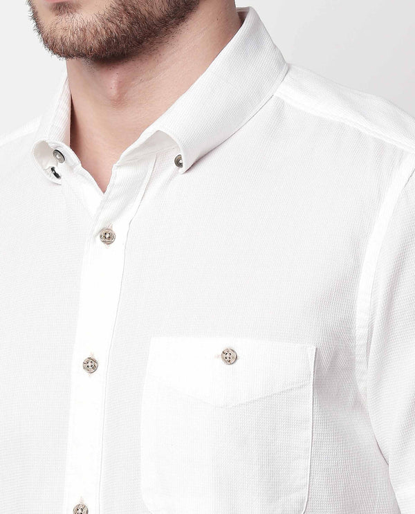 AFFLE-SHORT SLEEVE TEXTURED SHIRT-WHITE SHIRT RARE RABBIT