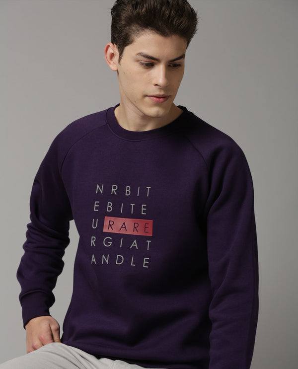 ALPH-COTTON SWEAT SHIRT-PURPLE SWEATSHIRT RARE RABBIT