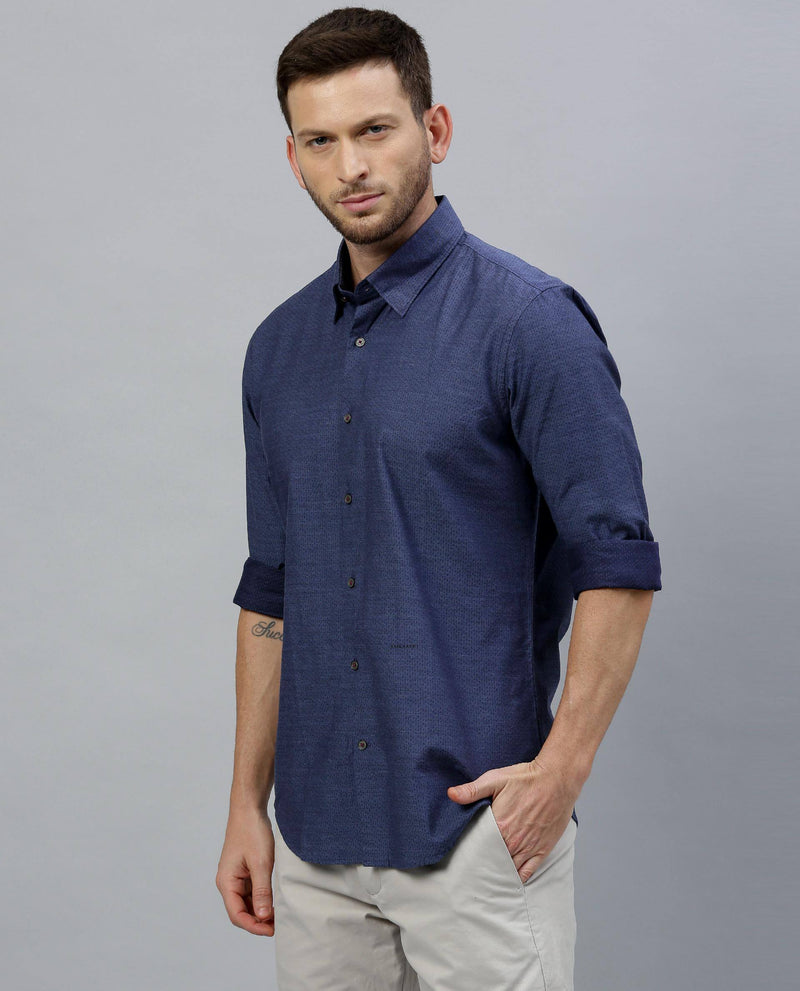 BOCA-MEN'S MICRO DOBBY SHIRT-NAVY SHIRT RARE RABBIT