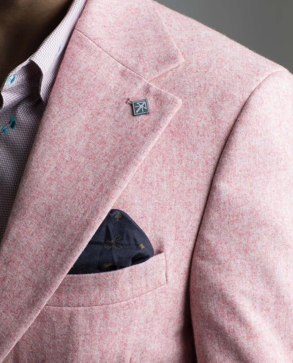 BOSCO-MEN'S FASHION TEXTURED BLAZER-LIGHT PINK BLAZER RARE RABBIT