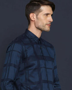 BOXLINE-MEN'S STYLISH LYOCELL JACQUARD SHIRT-NAVY SHIRT RARE RABBIT