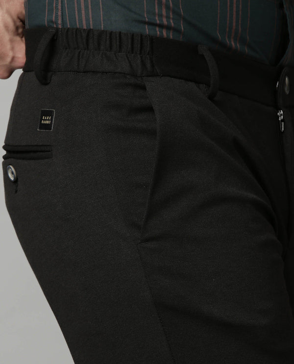TURNS-SOLID STRETCH TROUSER-BLACK TROUSERS RARE RABBIT