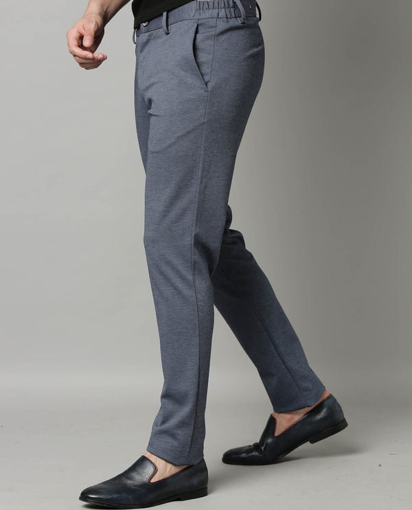 TURNS-SOLID STRETCH TROUSER-BLUE TROUSERS RARE RABBIT