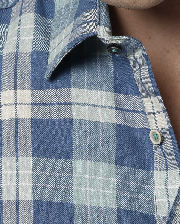 BURTO-SLUB CHECK SHIRT-BLUE SHIRT RARE RABBIT