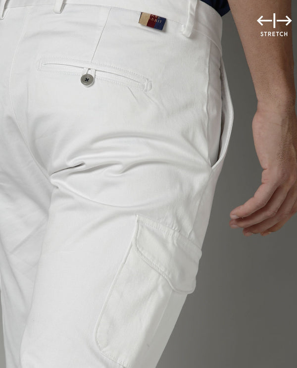 CARGO-SOFT STRETCH CARGO TROUSER-WHITE TROUSERS RARE RABBIT