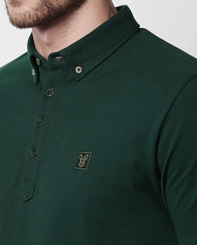 CASSINI-PIMA Polo T Shirt-GREEN POLO RARE RABBIT