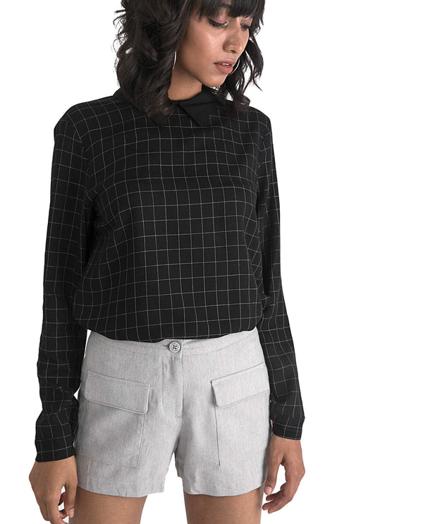 CORAL-WITH SLEEVE CHECK TOP-BLACK TOP RAREISM