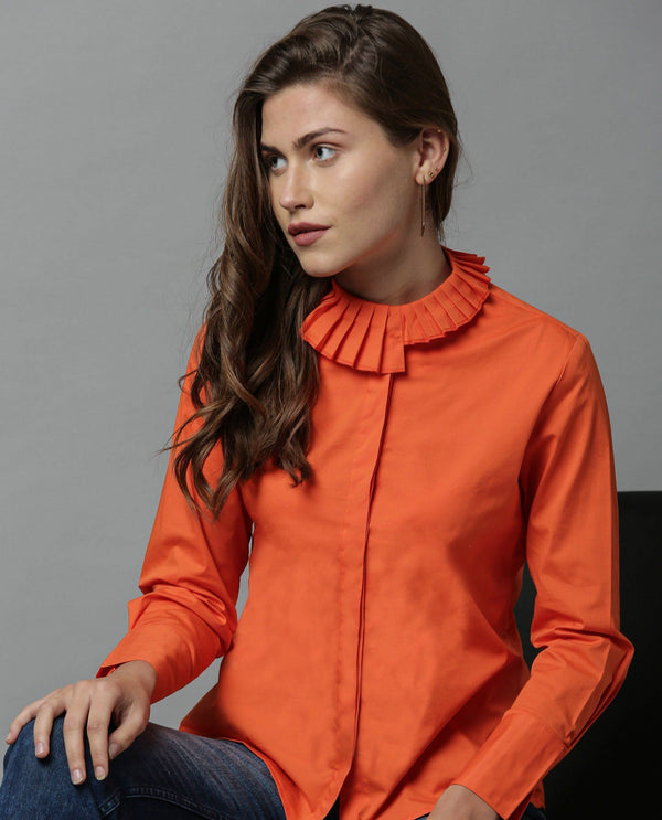 CROWN-FANCY COLLAR SHIRT-ORANGE TOP RAREISM
