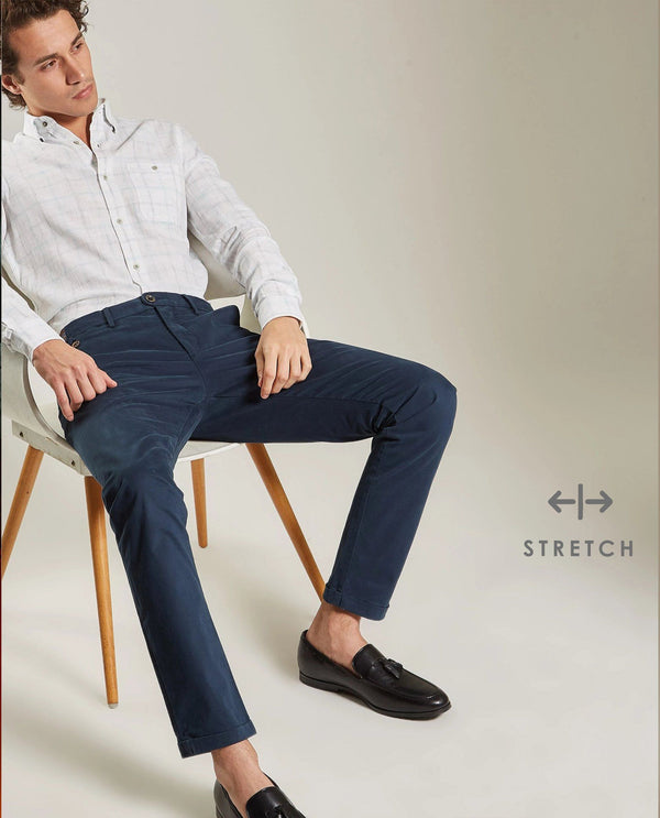 DARO-Slim Fit Trouser/Chino-NAVY TROUSERS RARE RABBIT