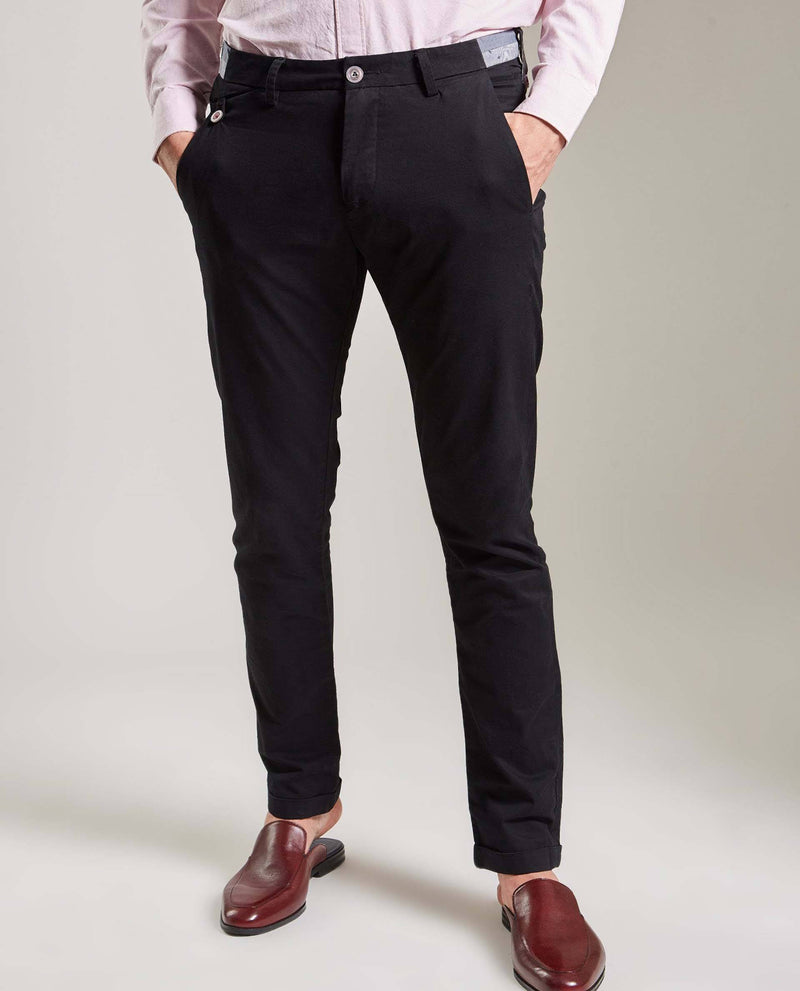 DARO-Slim Fit Trouser/Chino-BLACK TROUSERS RARE RABBIT